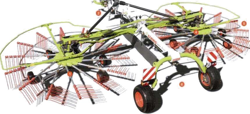 Компоновка валкоукладчик с укладкой по центру LINER с указанием функциональных систем