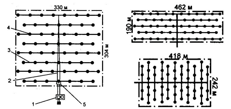 Компоновочно-конструктивные схемы расположения элементов оросительной сети и дождевателей КСИД-10А на орошаемом участке