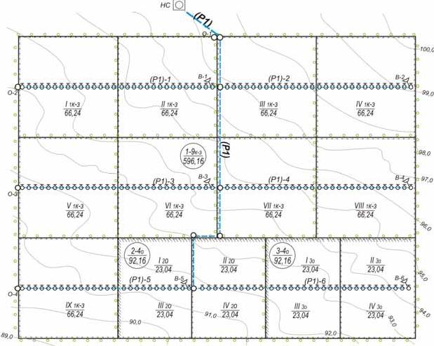 План орошаемого массива и оросительной сети под дождевальную машину «Ока»