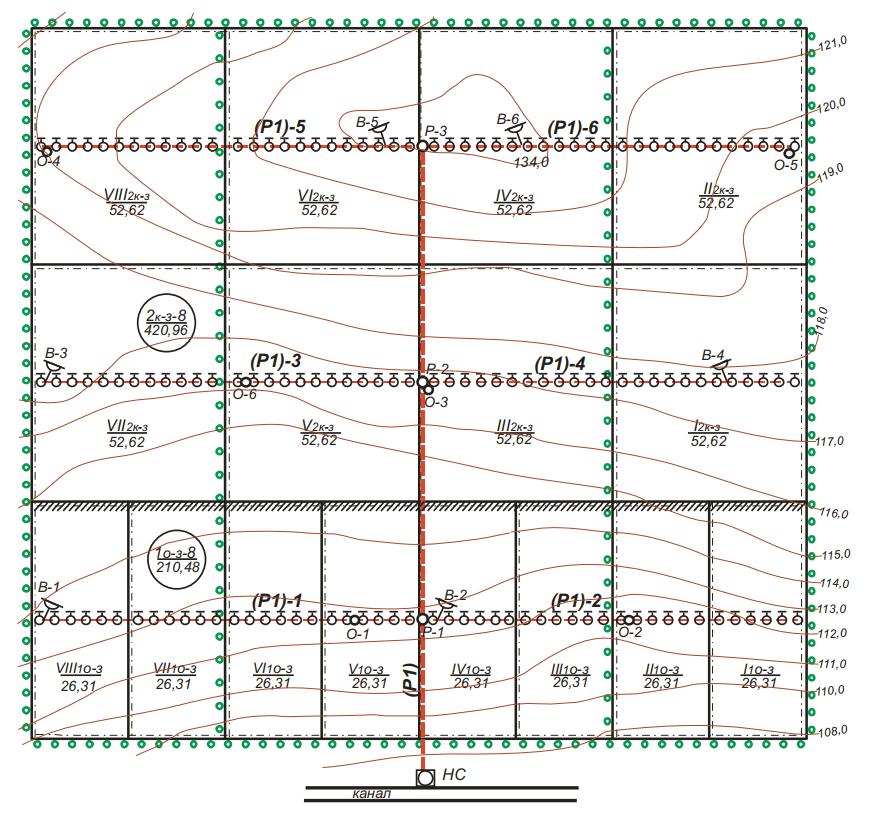 План севооборотных участков и оросительной сети для полива дождевальной машиной «Днепр»