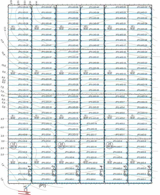 План трёхсевооборотного (повосьмипольного) орошаемого массива и оросительной сети под дождевальную машину ДДА-100МА