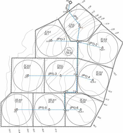 Примеры компоновочного решения полей и оросительной сети 9-типольного севооборотного участка по ДМ «Фрегат»