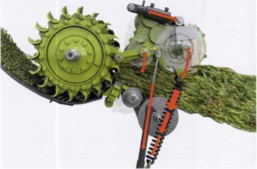 Процесс подачи предварительно подпрессованной массы и её измельчение ножевым барабаном V-MAX