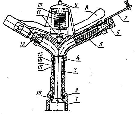 Разрез среднеструйного дождевального аппарата серии III