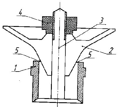 схема дефлекторной дождевальной насадки с подвижным и регулируемым по высоте внекорпусным конусным дефлектором