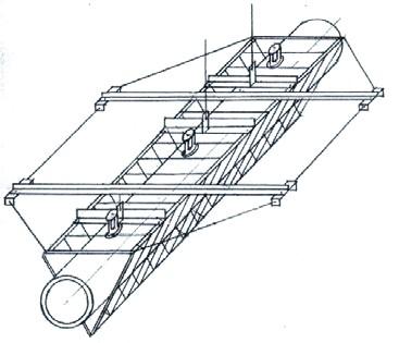 схема фрагмента дождевального водопроводящего полиэтиленового трубопровода для ДМ «Фрегат»