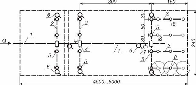 схема поливного модуля (участка) «Дождевального шлейфа ДШ-25/300»