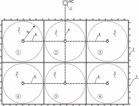 Схема расположения полей и оросительной сети при поливе ДМ «Фрегат»