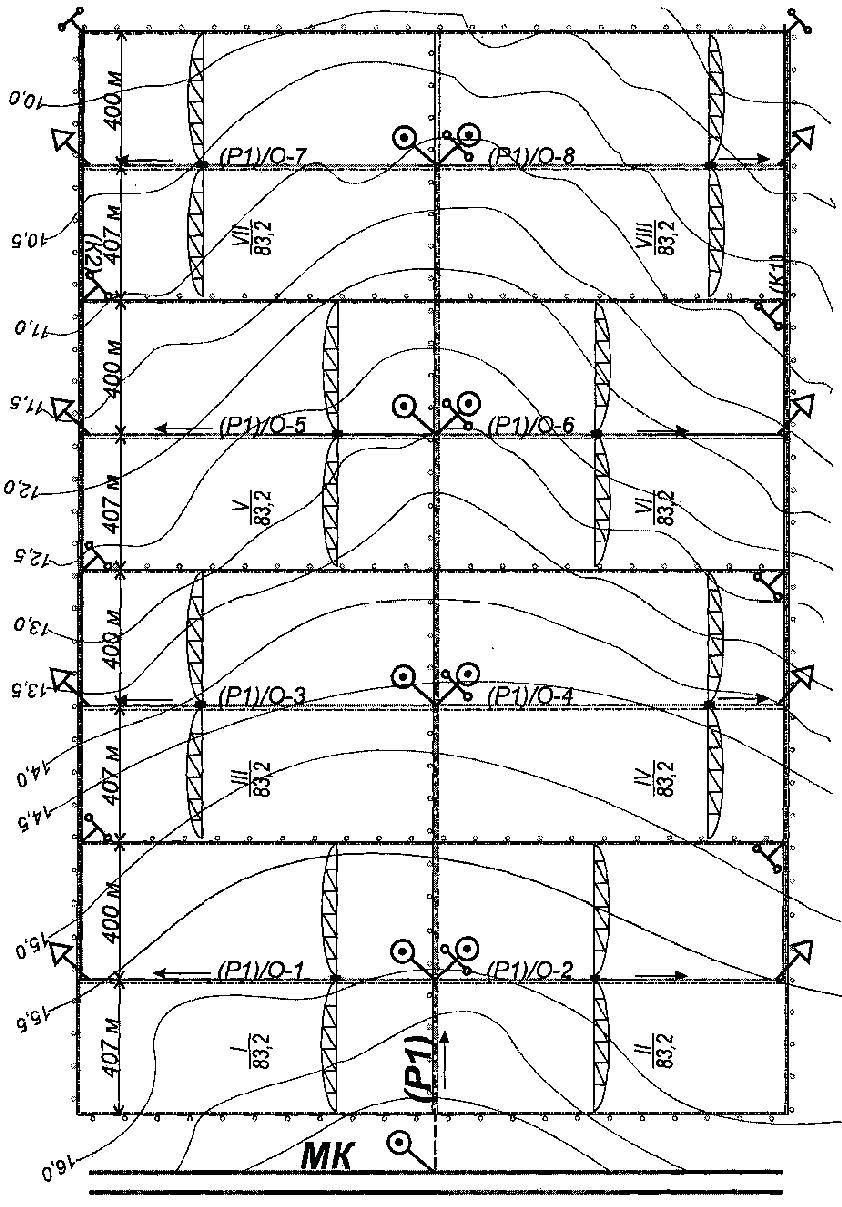 Схема расположения поливных участков (полей) восьмипольного орошаемого севооборота и оросительной сети под ДМ «Кубань-Л»