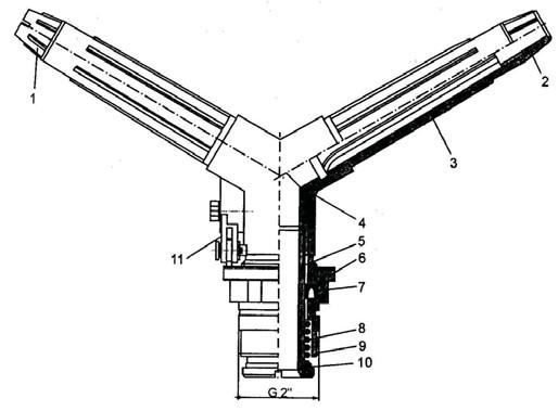 Среднеструйный двухсторонний дождевальный аппарат