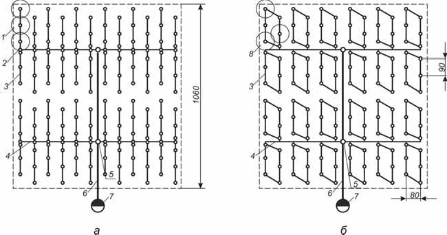 Типовые компоновки тупиковой и закольцованной оросительной сети стационарных дождевальных систем