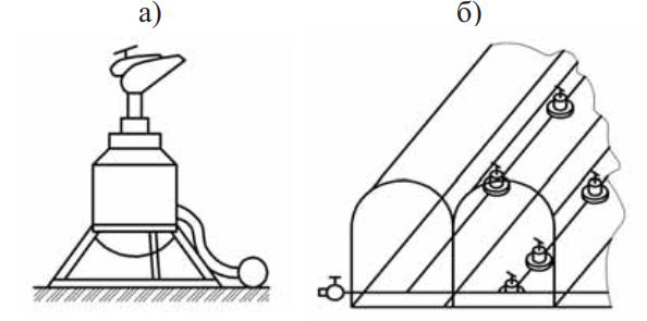 Вид импульсного дождевателя и поливного модуля для дождевого полива культивируемых растений в плёночных теплицах
