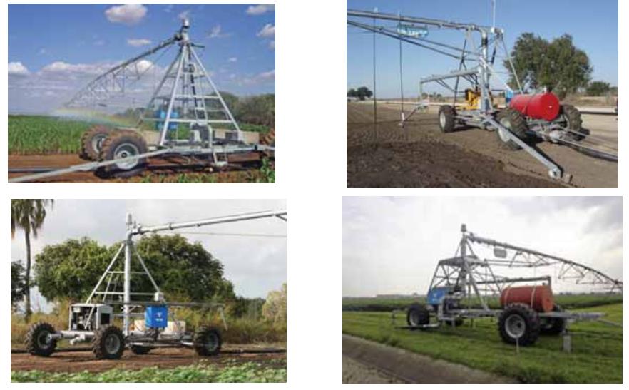 Виды универсальных конструкций четырёхколёсных головных опорно-ходовых тележек для ДМ «Valley» ипподромного перемещения