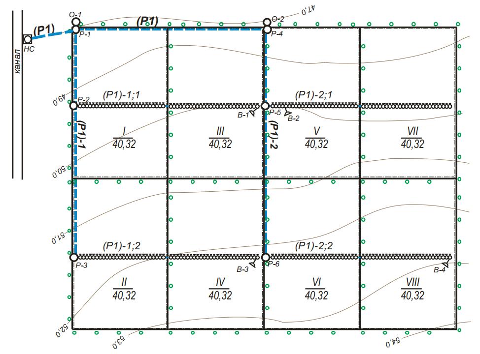Землеустроительное размещение (организация) полей (поливных участков-модулей) восьмипольного севооборота и компоновочное решение оросительной сети под дождевальную машину «Волжанка»