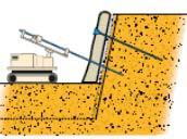Бурение и закрепление грунтовых гвоздей среднего пласта