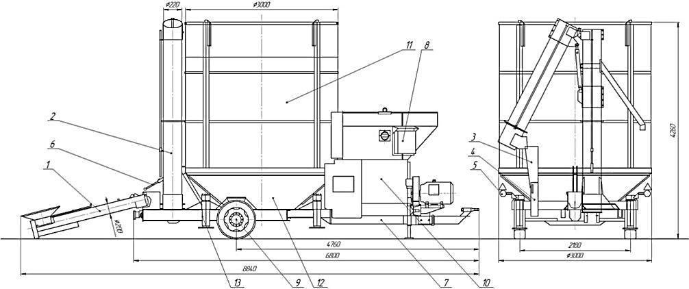 чертеж мобильной зерносушилки PRТ 250 ME