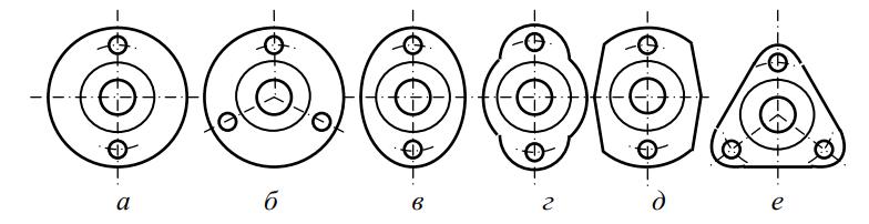 Формы дисков трех- и многороторных косилок