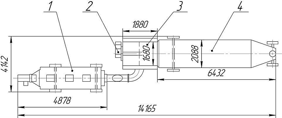 Габаритный чертеж мобильной зерносушилки WGHX-10