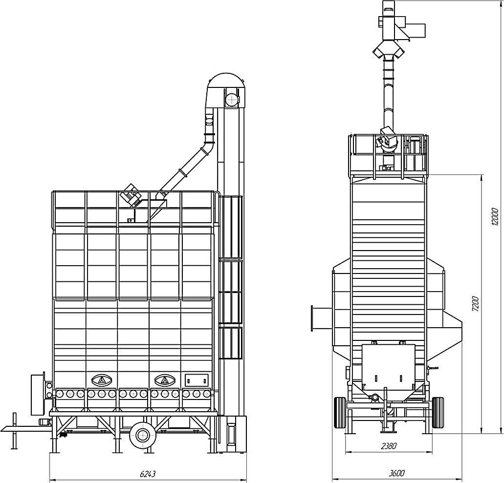 Габаритный чертеж сушилки М5-38