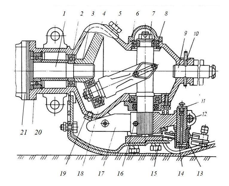 Конструкция привода с вилкой и кривошипом сегментного аппарата