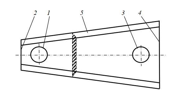 Нож роторной косилки трапециевидной формы