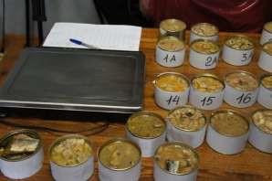 Обезличенные образцы рыбных консервов для исследования