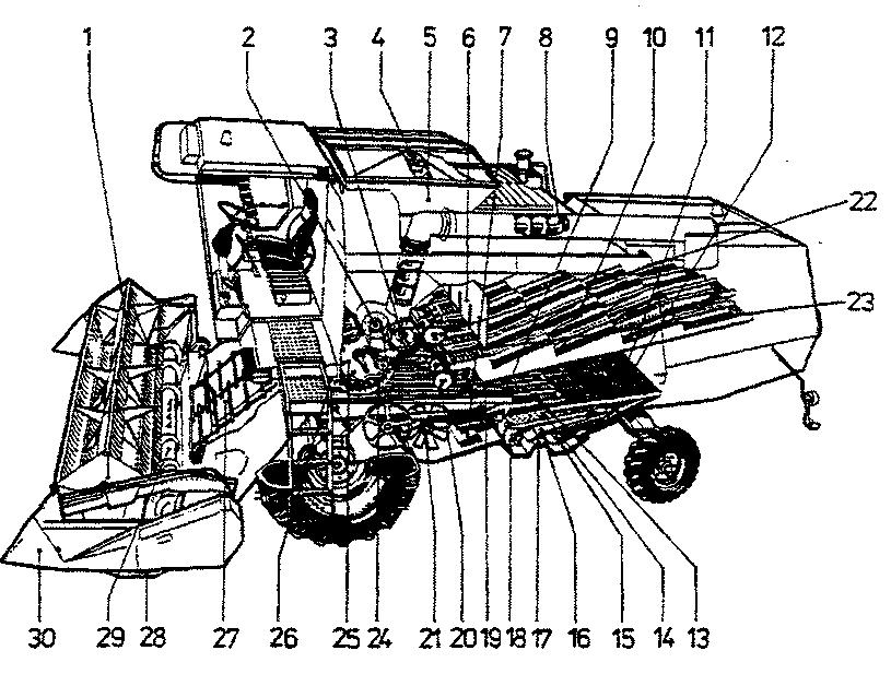 Общее устройство комбайна «Лида-1300»