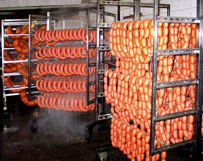 Охлаждение колбасных изделий душированием