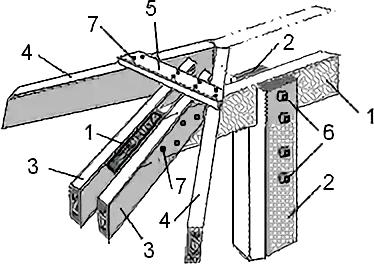 Опорный узел крепления диагональных стропильных ног на коньковый прогон с опорой на подкосы для вальмового ската