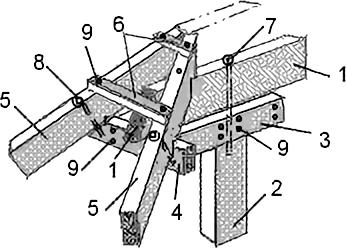 Опорный узел крепления диагональных стропильных ног на коньковый прогон без опоры на подкосы для вальмового ската
