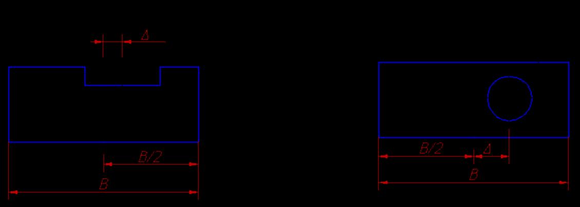 Отклонение от симметричности относительно базового элемента