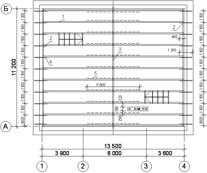 План стропильной системы двухскатной крыши