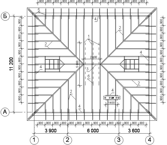 План стропильной системы вальмовой крыши