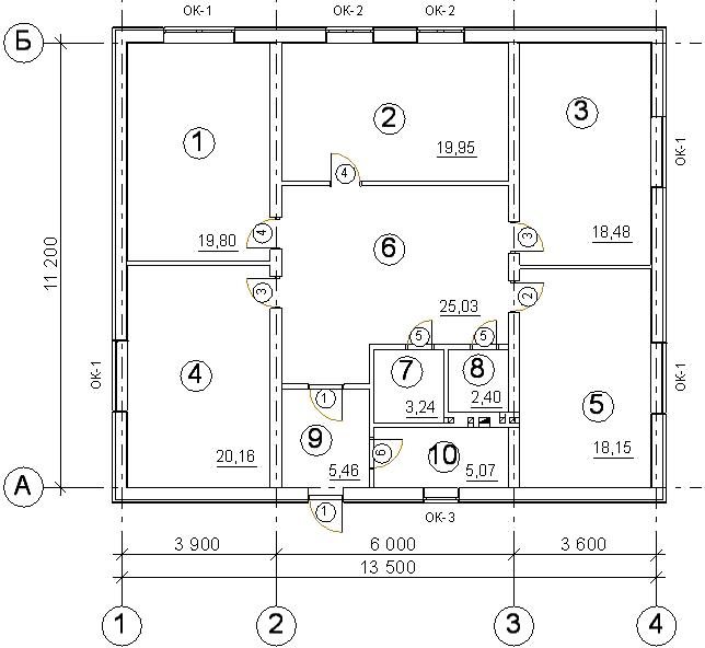 План жилого дома с дверными проемами