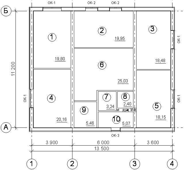 План жилого дома с оконными проемами