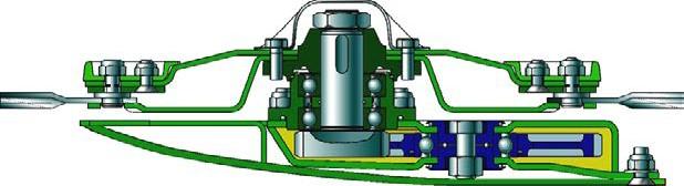 Поперечный разрез по оси ротора косилок фирм Claas и Krone