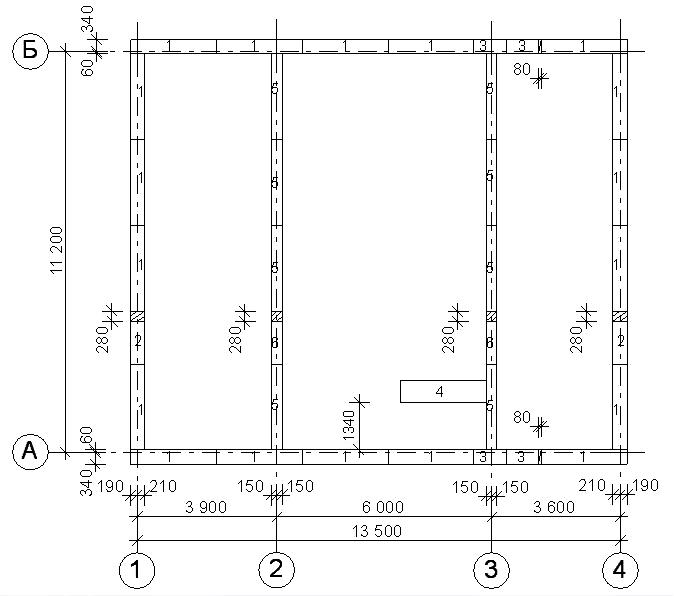 Раскладка 1-го ряда фундаментных блоков