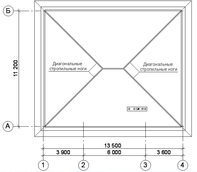 Расположение диагональных стропильных ног на плане