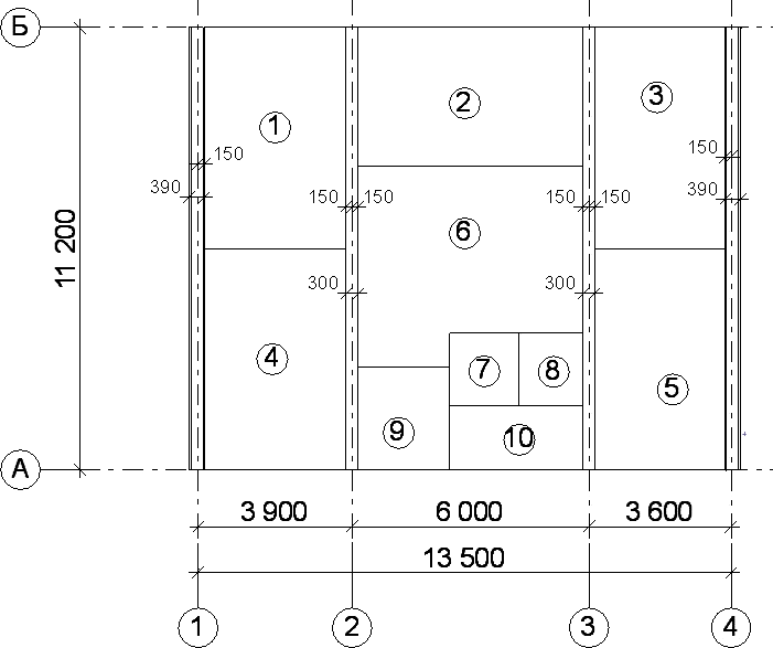 Расположение и привязка наружных несущих стен