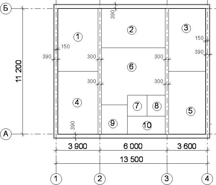 Расположение и привязка стен жилого дома