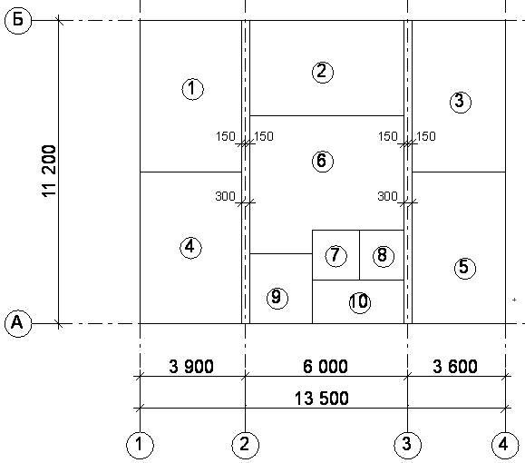 Расположение и привязка внутренних стен