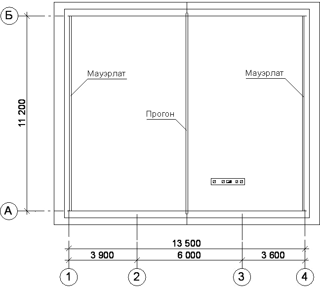 Расположение мауэрлатов и прогона стропильной системы