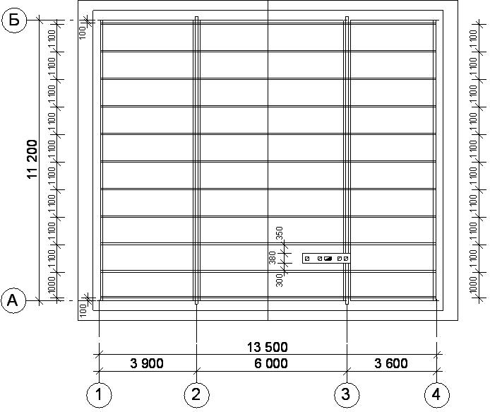 Расположение рядовых стропил на плане