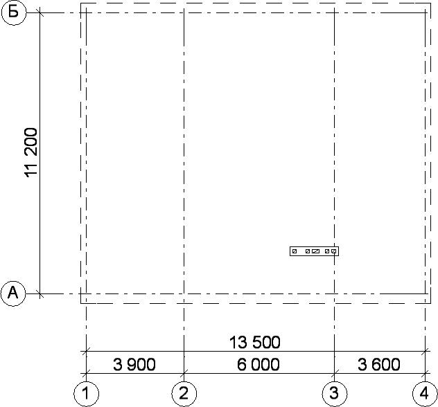 Разбивочные оси с наружным контуром наружных стен