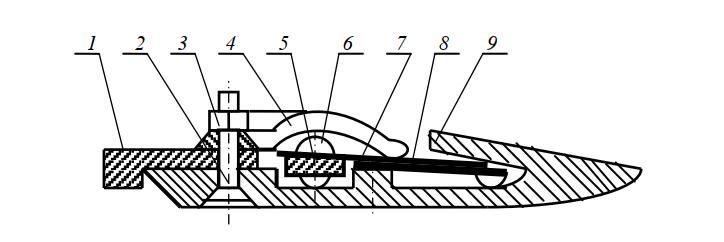 Разрез рабочего оборудования сегментно-пальцевого режущего аппарата