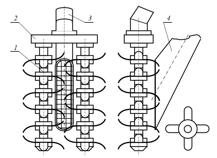 Схема двухбарабанного разрыхлителя