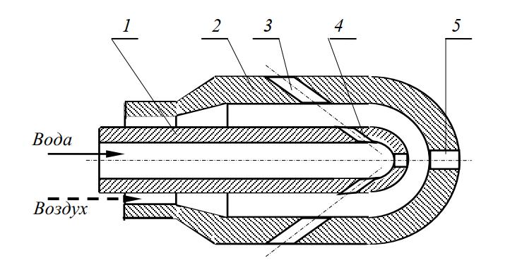 Схема головки для водно-воздушной промывки дрен
