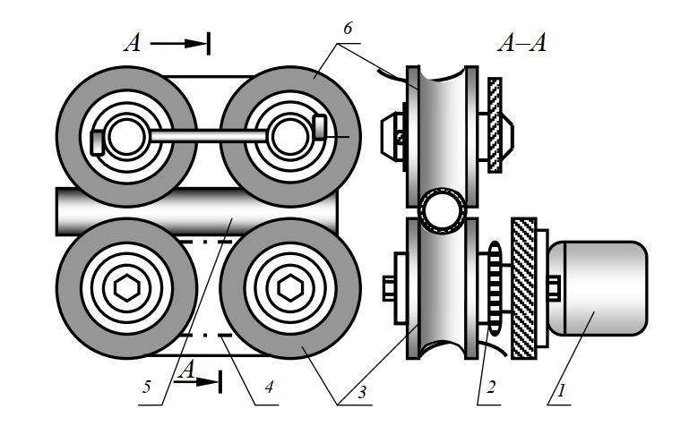 Схема механизма для перемещения напорного шланга
