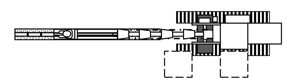 Схема многоковшового цепного экскаватора с перемещаемой кабиной