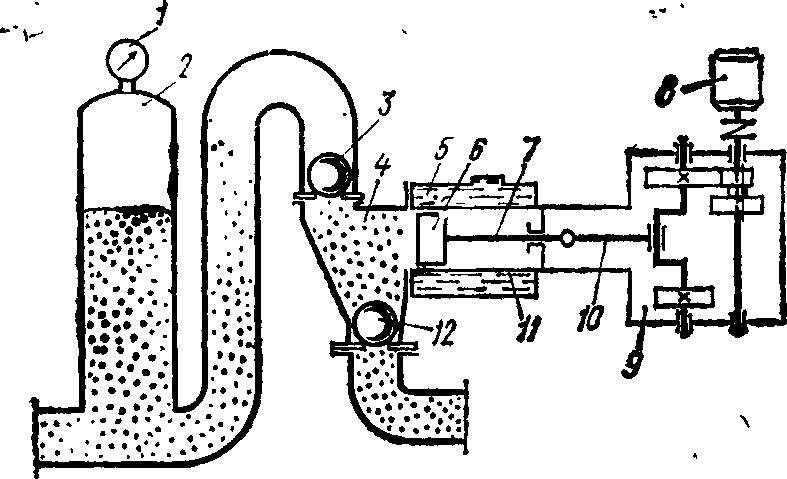 Схема поршневого противоточного растворонасоса